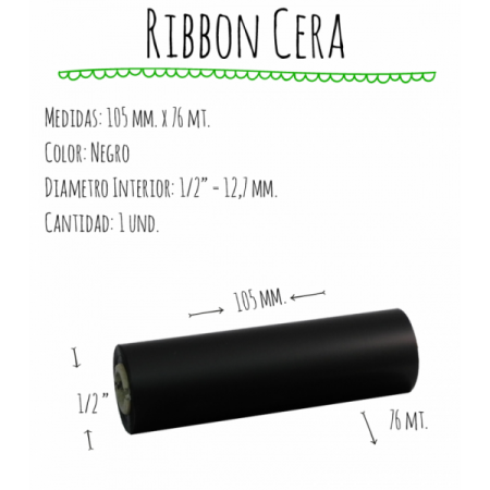 ROLLO RIBBON 105x076 NEGRO CERA