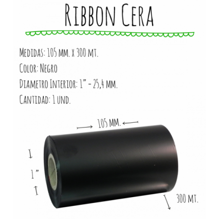 ROLLO RIBBON 105x300 NEGRO CERA