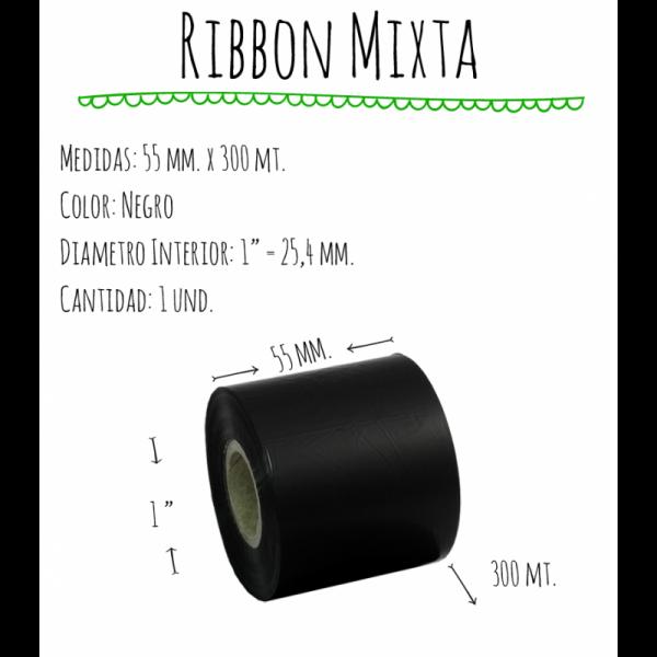 ROLLO RIBBON 055x300 NEGRO MIXTA