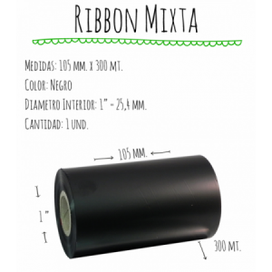ROLLO RIBBON 105x300 NEGRO MIXTA