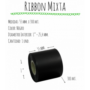 ROLLO RIBBON 055x300 NEGRO MIXTA E