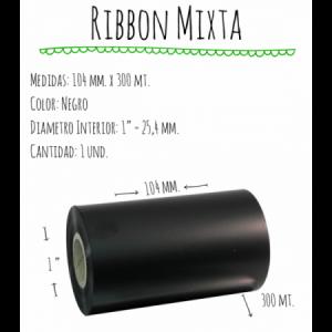 ROLLO RIBBON 104x300 NEGRO MIXTA