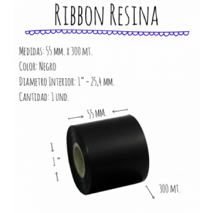 ROLLO RIBBON 055x300 NEGRO RESINA