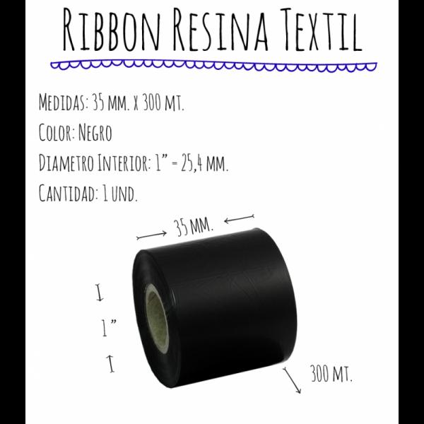 ROLLO RIBBON 035x300 NEGRO TEXTIL