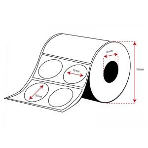 Rollo Etiquetas Inkjet Polipropileno 20mm diámetro en salida de 2(3000 Etiq.)