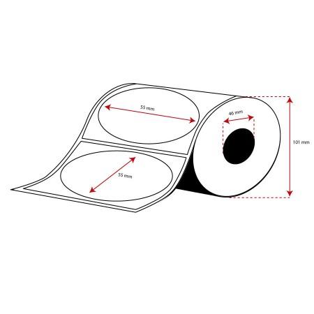 Rollo Etiquetas Inkjet Alto Brillo 55mm diámetro ( 500 Etiq.) Troquel Rectangular
