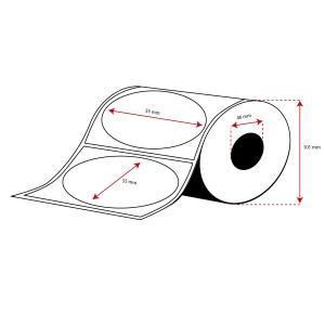 Rollo Etiquetas PoliPropileno Transparente 55mm diámetro ( 500 Etiq.) Troquel Rectangular