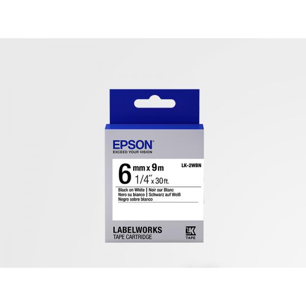 Cinta Estándar Epson LK-2WBN Negra/Blanca 6mm (9 m)