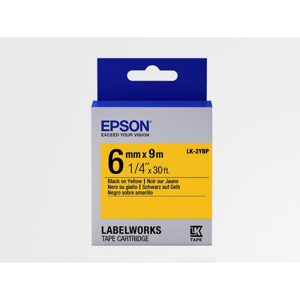 Cinta Color Pastel Epson LK-2YBP Negro/Amarillo 6mm (9 m)