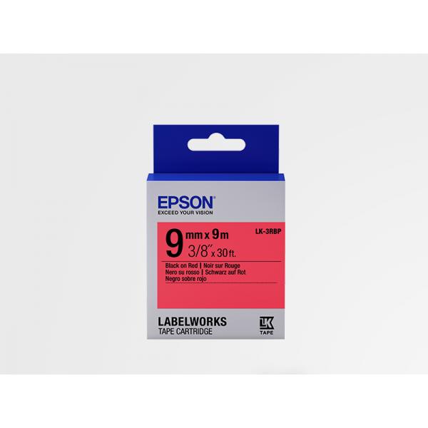Cinta Color Pastel Epson LK-3RBP Negro/Rojo Pastel 9mm (9 m)