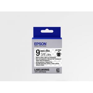 Cinta Adhesiva Resistente de Etiquetas Epson LK-3TBW Negra /Transparente 9mm (9 m)