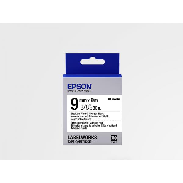 Cinta Adhesiva Resistente de Etiquetas Epson LK-3WBW Negra /Blanca 9mm (9 m)
