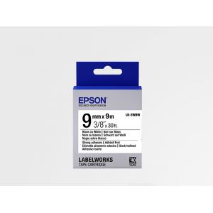 Cinta Adhesiva Resistente de Etiquetas Epson LK-3WBW Negra/Blanca 9mm (9 m)