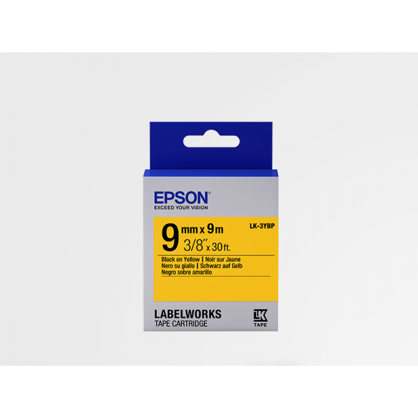 Cinta Color Pastel Epson LK-3YBP Negro/Amarillo Pastel 9mm (9 m)