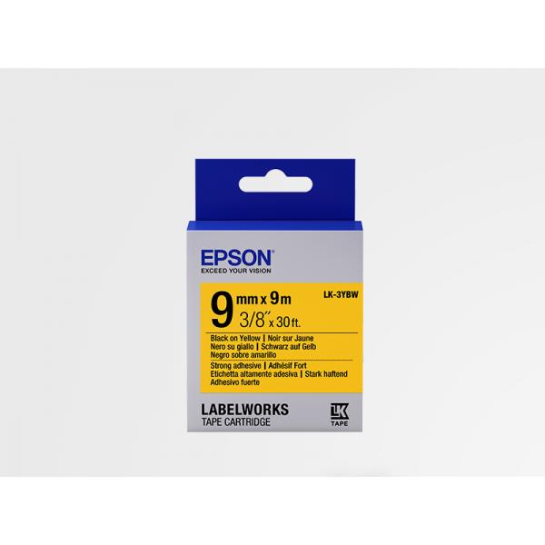 Cinta Adhesiva Resistente de Etiquetas Epson LK-3YBW Negra /Amarilla 9mm (9 m)
