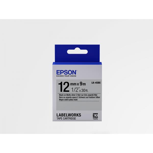 Cinta Mate Epson LK-4SBE Blanca/Plata Mate 12mm (9 m)