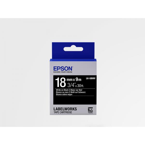 Cinta de Etiquetas Brillante Epson LK-5BWV Blanco/Negro 18mm (9 m)