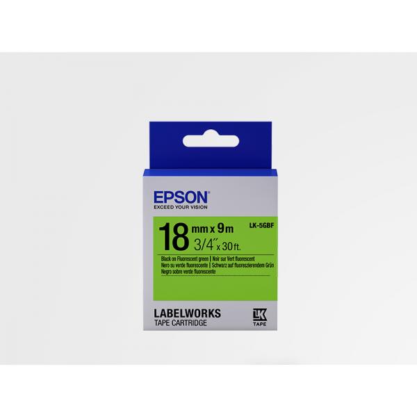 Cinta de Etiquetas Fluorescente Epson LK-5GBF Negro/Verde Fluorescente 18mm (9 m)