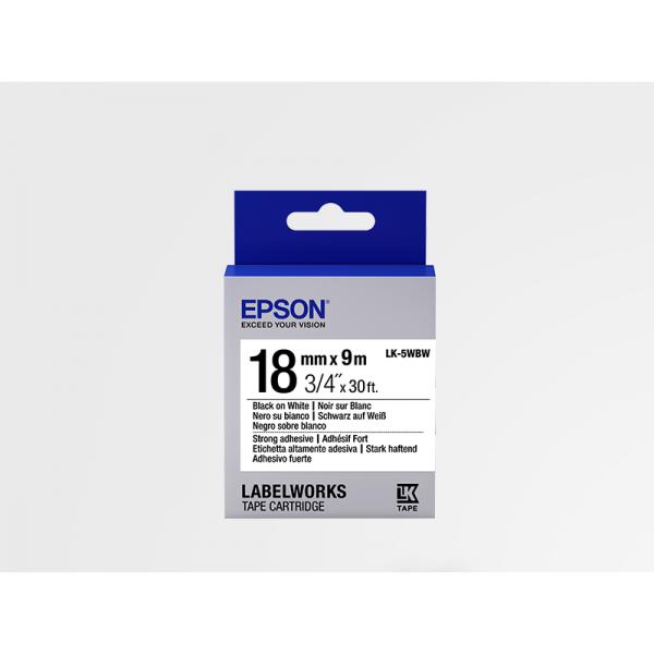 Cinta Adhesiva Resistente de Etiquetas Epson LK-5WBW Negra/Blanca 18mm (9 m)