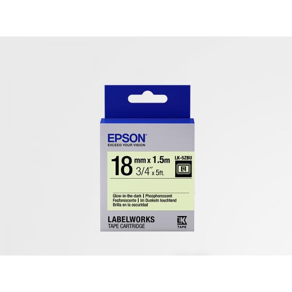 Cinta de Etiquetas Fosforescente Epson LK-5ZBU Negro/Fosforescente 18mm (1.5 m)