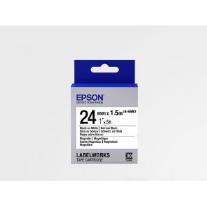 Cartucho de Etiquetas Magnéticas Epson LK-6WB2 Negro/Blanco 24mm (1.5 m)