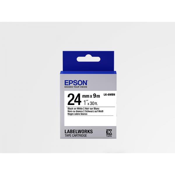 Cinta Estándar de Etiquetas Epson LK-6WBN Negra/Blanca 24mm (9 m)
