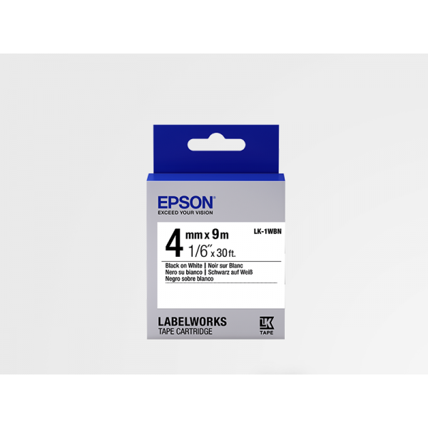 Cartucho de Etiquetas Estándar de Epson LK-1WBN Negro/Blanco 4mm (9 m)
