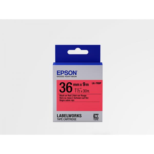 Cinta Color Pastel Epson LK-7RBP Negro/Rojo Pastel 36mm (9 m)