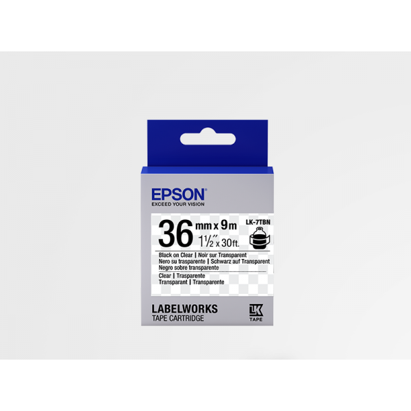 Cinta de Etiquetas Transparente Epson LK-7TBN Negra Transparente/Transparente 36mm (9 m)