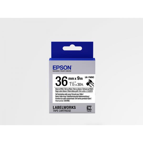 Cinta para Cable Epson LK-7WBC Negra/Blanca 36mm (9 m)