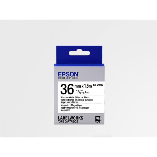 Cartucho de Etiquetas Magnéticas Epson LK-7WB2 Negro/Blanco 36mm (1.5 m)