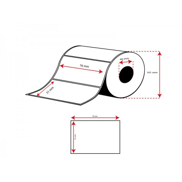 Rollo Etiquetas Inkjet Mate 76mmx 51mm ( 650 Etiq.)