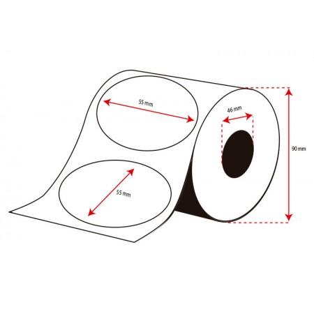 Rollo Etiquetas Inkjet Alto Brillo 55mm diámetro ( 500 Etiq.)