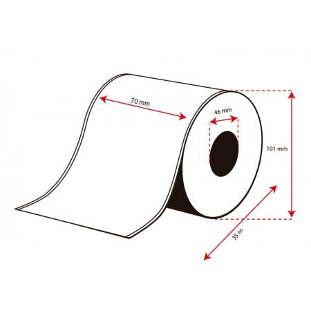 Rollo Etiquetas Inkjet Polipropileno 70mmx 35m ( 35 m.)