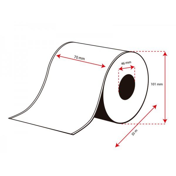 Rollo Etiquetas Inkjet Polipropileno 70mmx35m (35 m.)